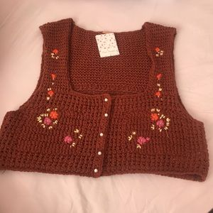 Free People  Crochet Crop Top